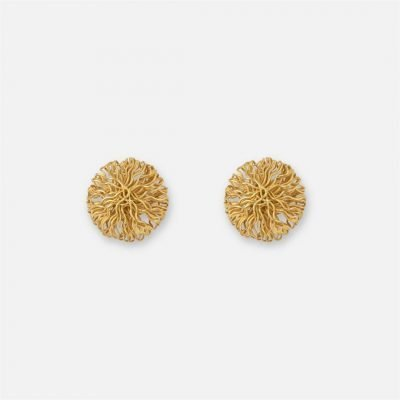 Yellow gold filigree pair of earrings