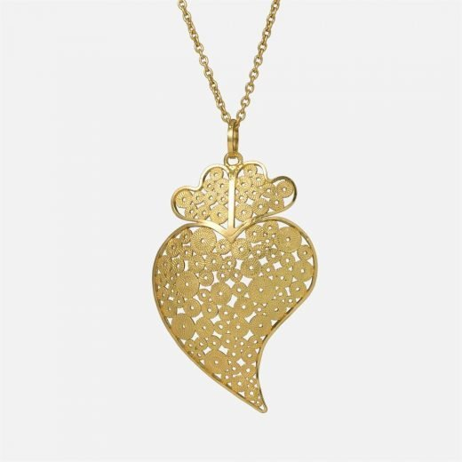 Yellow gold 'Heart' filigree pendant