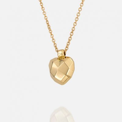 """""""Heart Faces"""" necklace in yellow gold"""