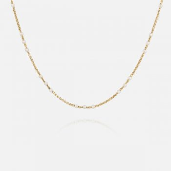 Portuguese courdon necklace in yellow gold and pearls