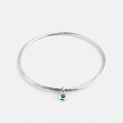 Twisted bracelet in silver with turquoise trinket