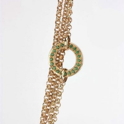 'Inverso' reversible necklace in gold with diamonds and green topaz