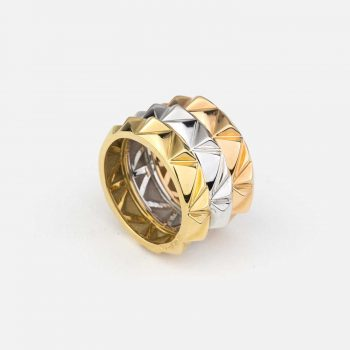 "Set of 3 rings ""Les Pyramides"" in yellow, white and rose gold"