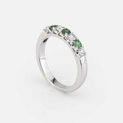 """Forever Colorful"" ring in white gold, green turmaline and diamond"