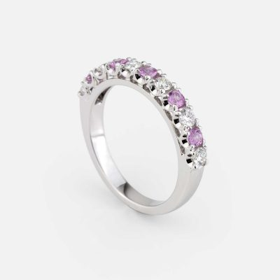 """Forever Colorful"" ring in white gold, rose sapphire and diamond"