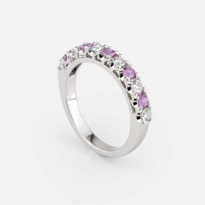 'Forever Colorful' ring in white gold, rose sapphire and diamond