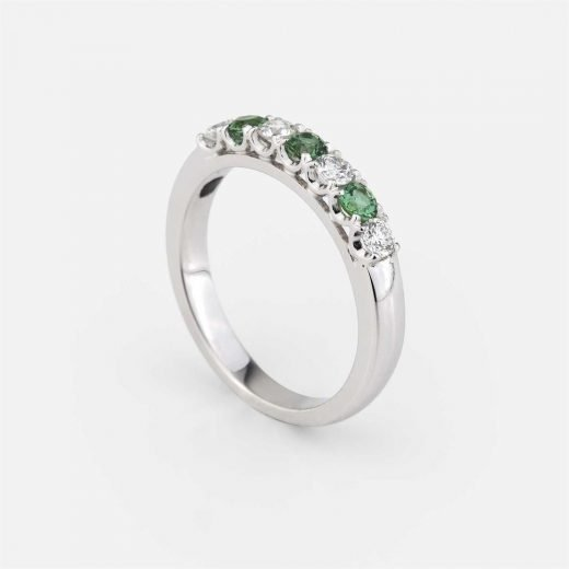 'Forever Colorful' ring in white gold, green turmaline and diamond