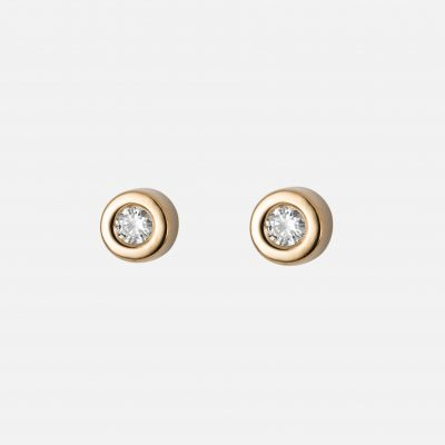 """Pair of """"One"""" earrings in yellow gold with diamonds"""