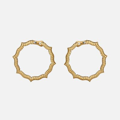 Ganda Godron pair of earrings in yellow gold and diamonds