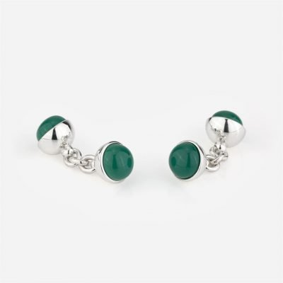 Silver cufflinks with dark green porcelain
