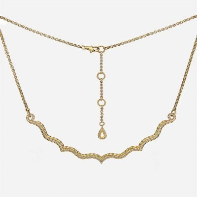 Ganda Godron necklace in yellow gold and diamonds