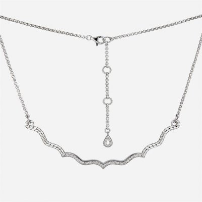 Ganda Godron necklace in white gold and diamonds