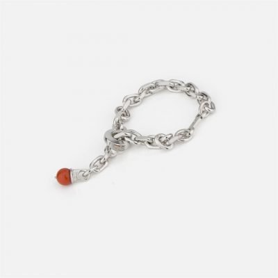 Keychain in silver with coral