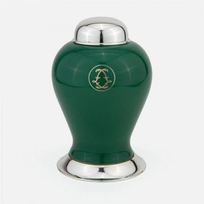 Green large marked pot in silver and porcelain