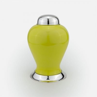 Yellow medium pot in silver and porcelain