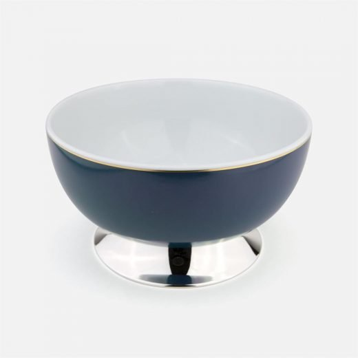 Blue large bowl in silver and porcelain