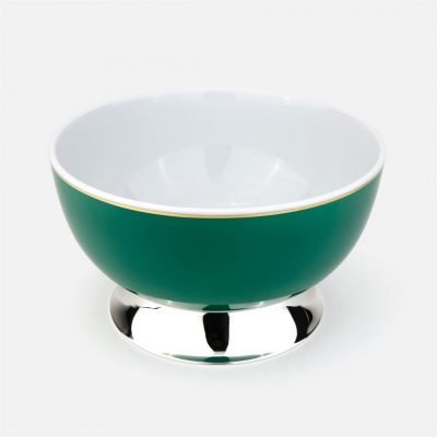 Green large bowl in silver and porcelain