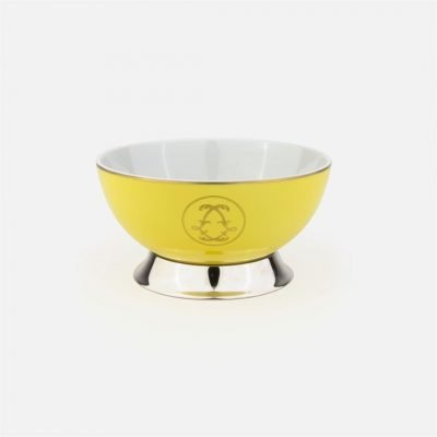 Yellow medium marked bowl in silver and porcelain