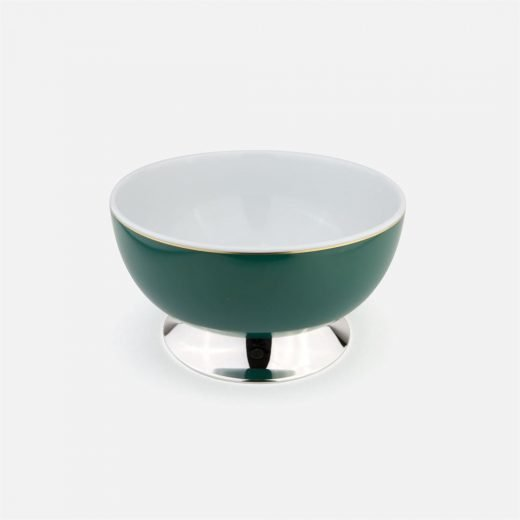 Green medium bowl in silver and porcelain