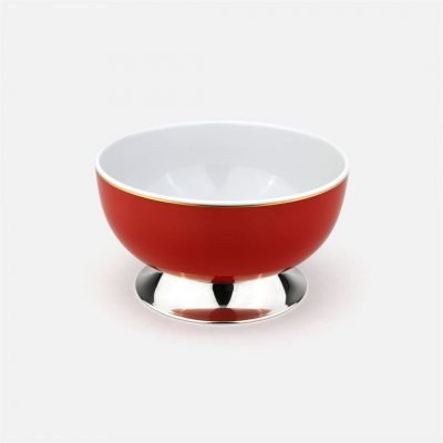 Red medium bowl in silver and porcelain