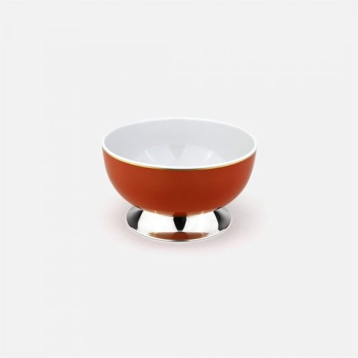 Coral small bowl in silver and porcelain