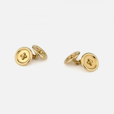 'Button' yellow gold cufflinks