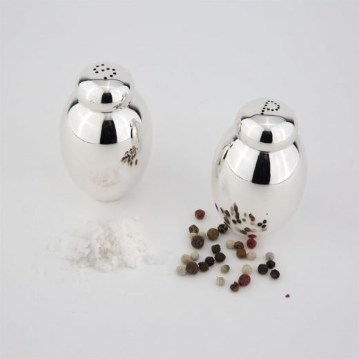 Salt and pepper pots in silver
