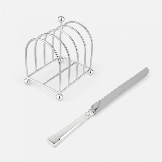 Toast-rack and bread knife in silver