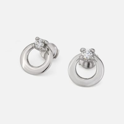"""Solitário"" earrings in platinum with diamonds"