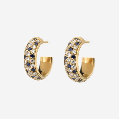 """""""Fancy"""" earrings in yellow gold with blue sapphires and diamonds"""