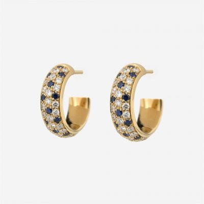 'Fancy' earrings in yellow gold with blue sapphires and diamonds