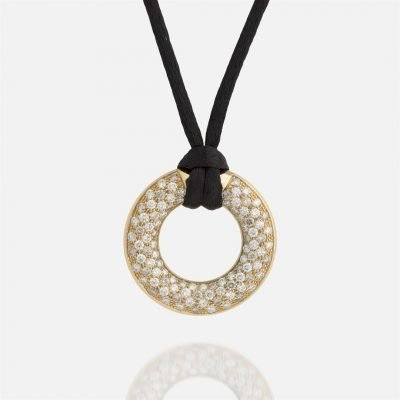 'Fancy' pendant in yellow gold with brown diamonds and white diamonds