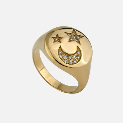 Ring Constellation Eternity Moon & Stars in gold and diamond