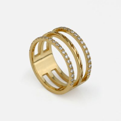 Ring Triple Diamond Thunder in gold and diamond