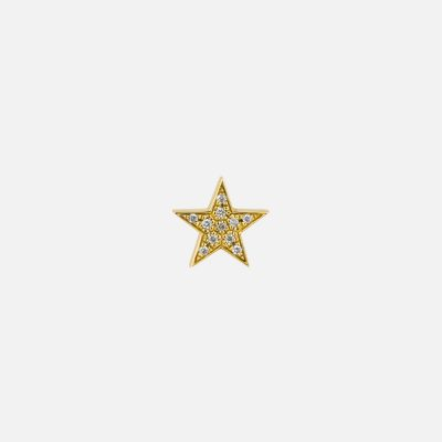 Single earring North Star in gold and diamond