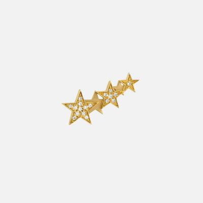 Single earring Star Constellation in gold and diamond
