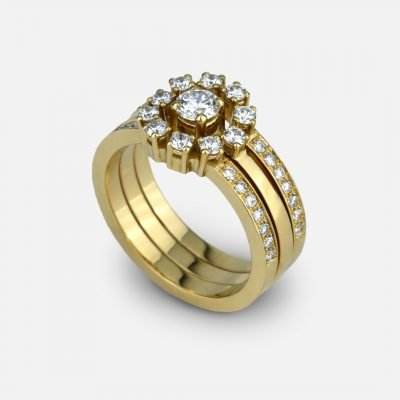 Memory ring in yellow gold and diamonds