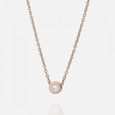 'One' chain and pendant in rose gold with diamond