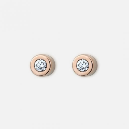 Pair of 'One' earrings in rose gold with diamonds