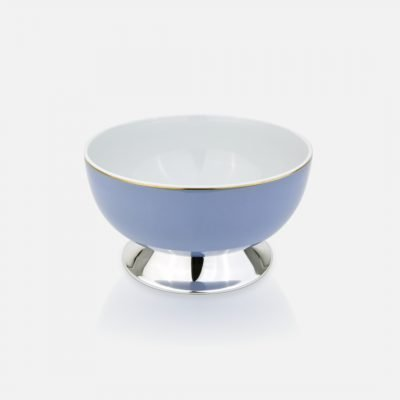 Lavender medium bowl in silver and porcelain