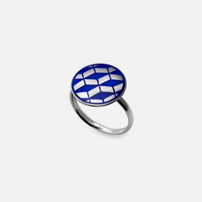 Downtown Ring in silver and enamel blue ceramic